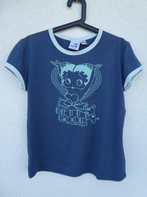 Mango Jeans  – T-Shirt Betty Boop, blau mit Aufdruck – Gebraucht