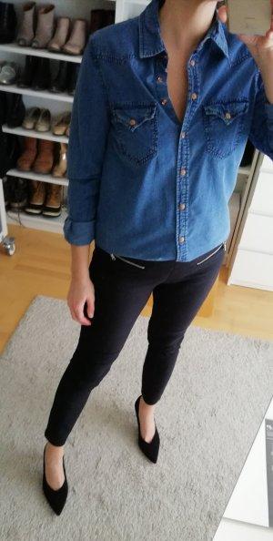 Mango Jeanshemd Bluse Hemd Denim blau Gr. M