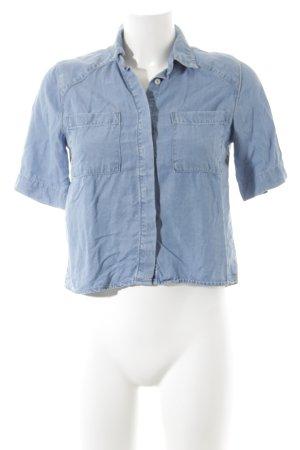 Mango Jeanshemd stahlblau Jeans-Optik