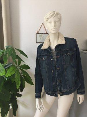 Mango Jeansjacke mit Fellkragen