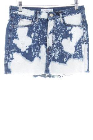 Mango Spijkerrok donkerblauw-wit kleurvlekken patroon ontspannen stijl