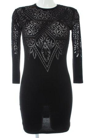 Mango Jerseykleid schwarz Ornamentenmuster Street-Fashion-Look