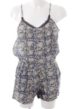 Mango Jumpsuit creme-dunkelblau florales Muster Romantik-Look