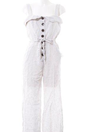 Mango Jumpsuit weiß-schwarz Streifenmuster Casual-Look