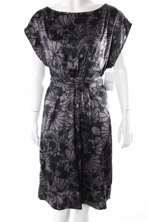 Mango Kleid anthrazit-schwarz Blumenoptik