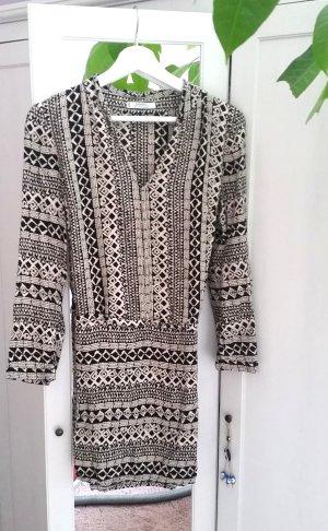 Mango Kleid beige schwarz Gr. XS 34