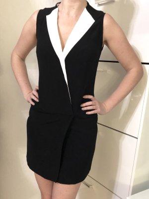 Mango Kleid Blazerkleid XS 34 schwarz weiß