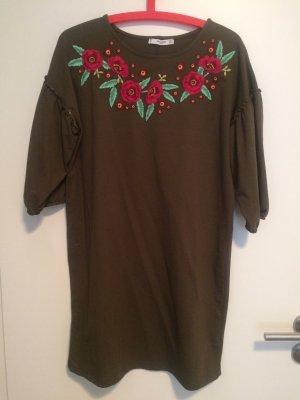 Mango Kleid Blumen Stickerei Olivgrün S