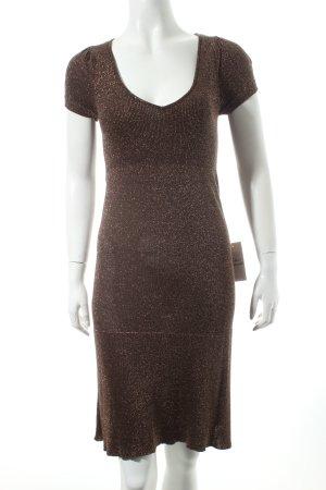 Mango Kleid braun-goldfarben Glitzer-Optik