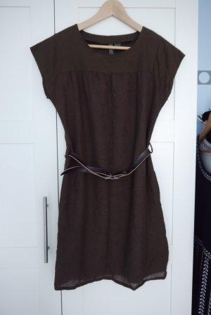 Mango Kleid Dress braun mit Gürtel Gr. S