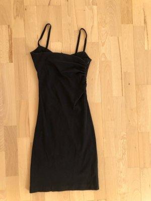 MANGO Kleid Gr. 34 XS Cocktailkleid figurbetont Spaghetti Traeger Samt schwarz