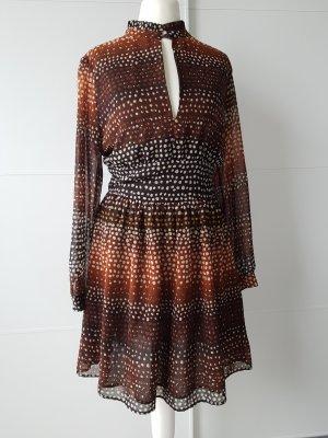 MANGO Kleid, Gr.S, gepunktet, rotbraun/cognac/beige