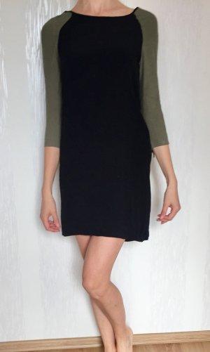 Mango Kleid knielang klassisch khaki grün mit schwarz