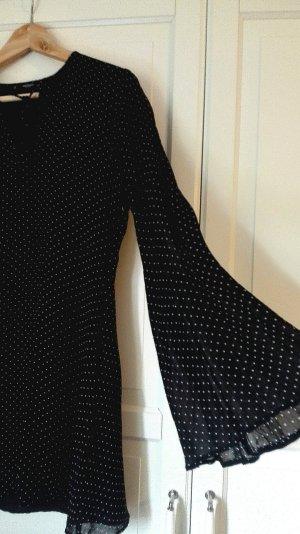 Mango Kleid lange ärmel flatterärmel hippie punkte schwarz weiß
