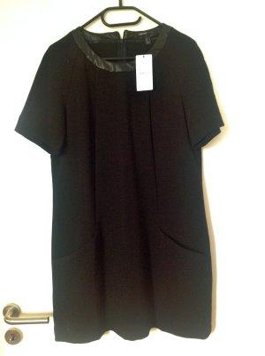 Mango Kleid mit Kunstlederkragen