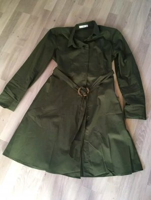 Mango A Line Dress forest green cotton