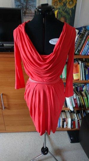Mango Kleid rot mit Wasserfallausschnitt Gr. XS