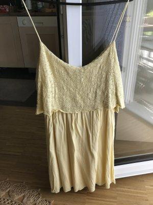 Mango Kleid Sommerkleid mit spitze in gelb S 36 Trägerkleid