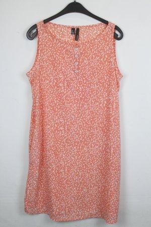 Mango Kleid Trägerkleid Gr. L neon orange mit weißem Vogel Print (18/3/135)