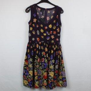 Mango Kleid Trägerkleid Gr. M braunviolett flower print