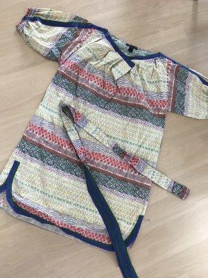 Mango Kleid Tunika Blusenkleid Ethno Indie mit Gürtel S