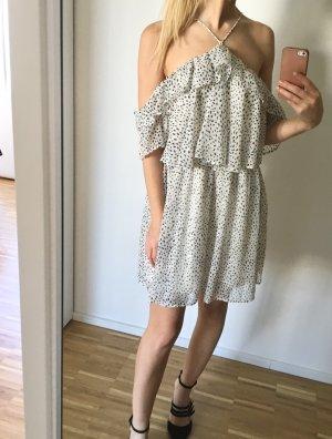 Mango Kleid Volants 34 XS Weiß Gepunktet Schulterfrei