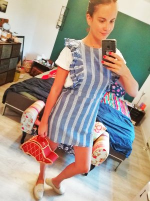 Mango Kleid Volants Streifen Latz M
