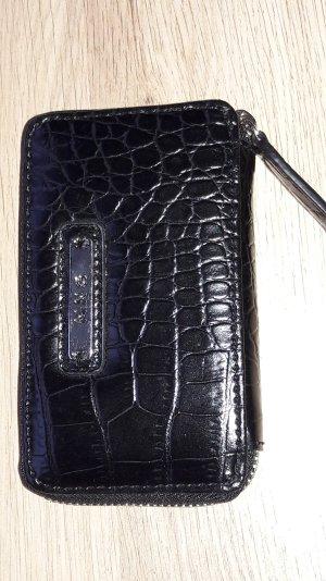 Mango kleine Geldbörse Fake-Krokoleder schwarz mit Zipper