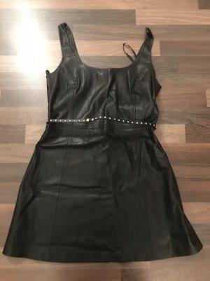 Mango Leather Dress black-silver-colored