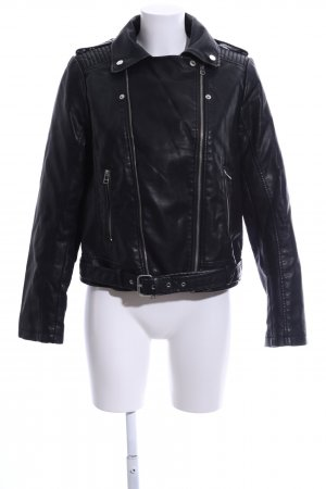 Mango Faux Leather Jacket black casual look