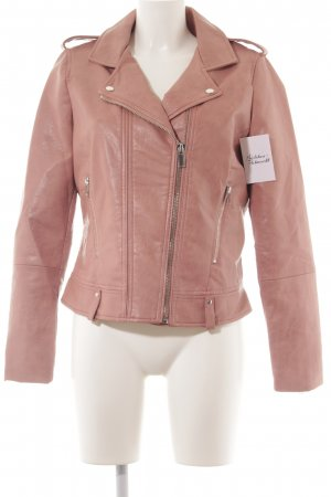 Mango Faux Leather Jacket pink street-fashion look