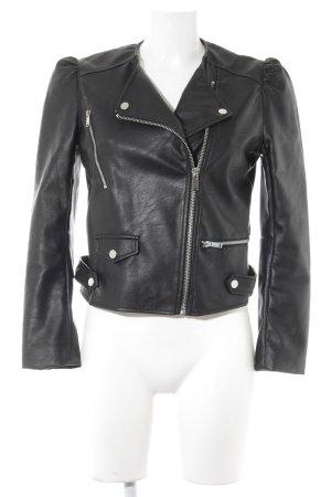 Mango Faux Leather Jacket black biker look