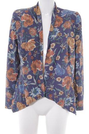 Mango Kurz-Blazer dunkelblau-dunkelorange Blumenmuster Casual-Look