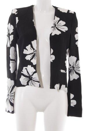 Mango Kurz-Blazer schwarz-weiß Blumenmuster Casual-Look
