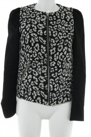 Mango Kurz-Blazer schwarz-wollweiß abstraktes Muster Casual-Look