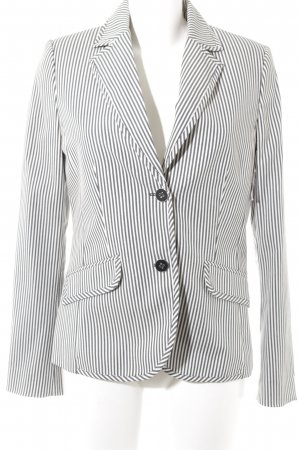 Mango Kurz-Blazer weiß-dunkelblau Streifenmuster Business-Look