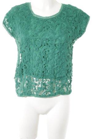 Mango Kurzarm-Bluse grün florales Muster Spitzen-Optik