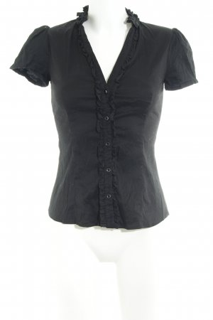 Mango Kurzarm-Bluse schwarz Streifenmuster Business-Look