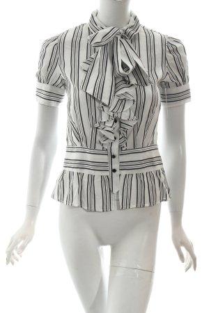 Mango Kurzarm-Bluse weiß-schwarz Streifenmuster Volantbesatz