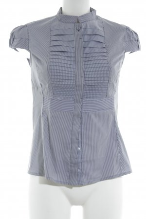 Mango Short Sleeve Shirt dark blue-white striped pattern business style