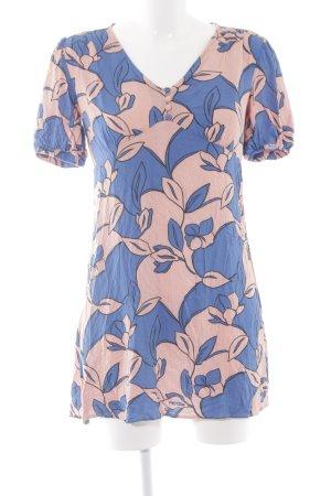 Mango Kurzarmkleid blau-lachs florales Muster Casual-Look