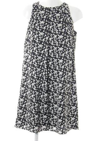 Mango Kurzarmkleid schwarz-weiß abstrakter Druck Casual-Look