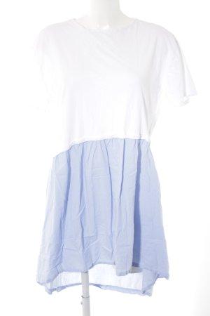 Mango Kurzarmkleid weiß-himmelblau Casual-Look