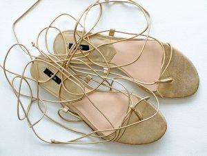 MANGO Lace-Up Sandalen Sandaletten Flats  Goldenes Echt Leder Gr,40 wie 39 NEU