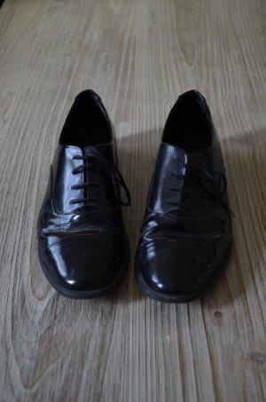 Mango Lackleder Schuhe Schnürschuhe schwarz 39