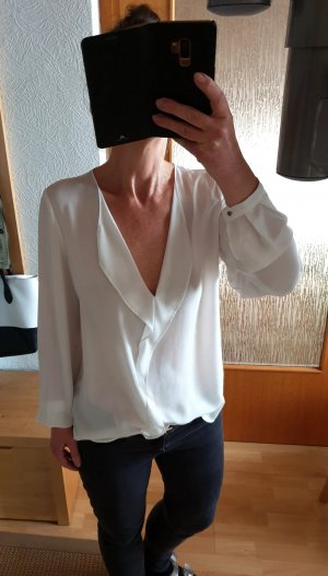 Mango lässige Oversize Bluse mit Volant Business Party cremeweiß S / M