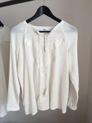 MANGO langärmelige Bluse cremeweiß Größe 34