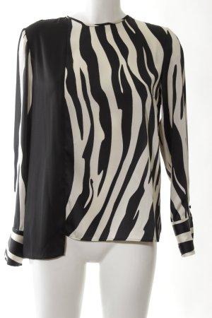 Mango Langarm-Bluse weiß-schwarz Animalmuster Elegant
