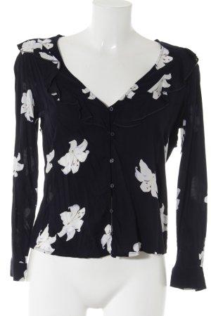 Mango Langarm-Bluse dunkelblau-weiß Blumenmuster Casual-Look