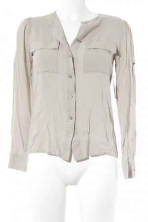 Mango Langarm-Bluse hellbeige schlichter Stil